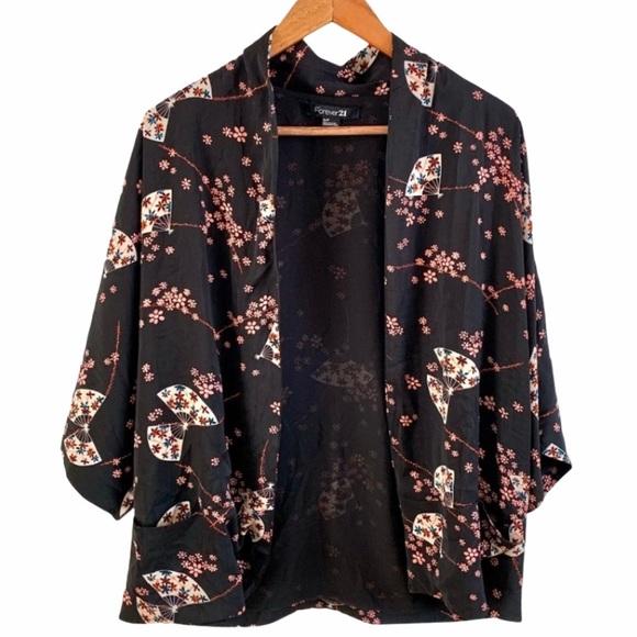 FOREVER 21 Short Sleeve Boho Kimono Cardigan Top